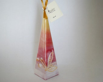 """Pyramid candle """"Fields of gold""""/Christmas candle/ Winter themed gift"""