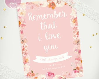 Remember That i Love You And Always Will Personalized Quote Print |  Watercolour personalised Gift For Couple |  Engagement |