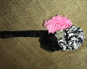 Damask and Light Pink Headband