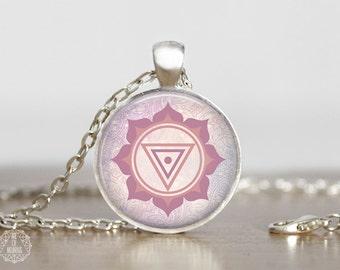 Kali Yantra Pendant Necklace. Kali Necklace, Yantra Jewelry, Boho Jewelry, Pastel Grunge, Mandala Necklace, Watercolor, Paisley, Goddess Art