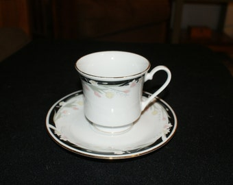 Crown Ming Michelle Flat Cup and Saucer
