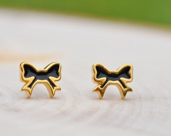 Black and Gold Bow Sterling Silver Earrings, Bow Earrings, Sterling Silver Earrings, Sterling Silver Jewelry, 100% Sterling Silver