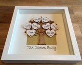 Personalised wooden family tree frame box frame, family tree gift, gift for Mum, Mom, Mothers Day gift, personalized family tree frame,