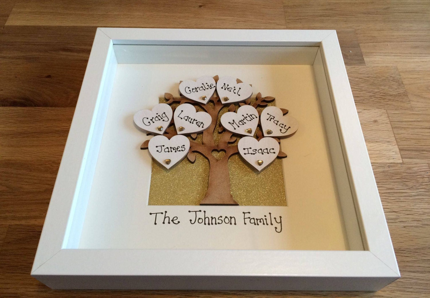 personalised wooden family tree frame box frame family tree gift gift for mum mom mothers day gift personalized family tree frame
