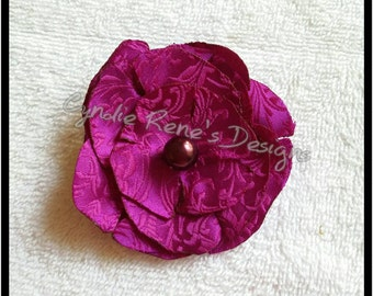Purple fabric flower clip