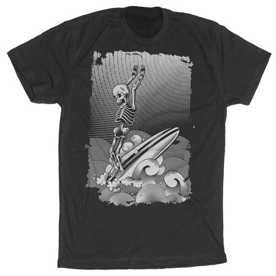 Surf Shirt - Mens Surfing t shirt - Skeleton Surfing a Long Board Hand Screen Printed on Mens T-Shirt- Surfer Shirt- Perfect Surfing Shirt