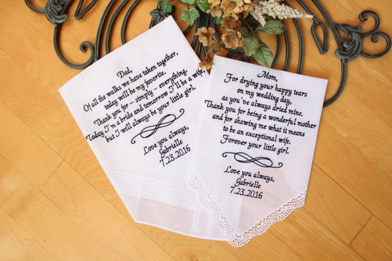 Wedding Gifts For Parents Canada : Parents Wedding gift, set of 2, Parents of the Bride handkerchiefs ...