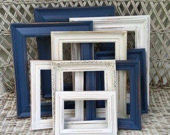 custom navy blue and white gallery wall set open frames set hand painted and distressed frame set shabby chic frames