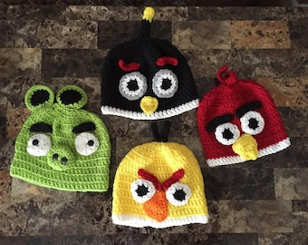 Crocheted Angry Birds Hats available in four styles, handmade hat, Valentines Day gift, costume topper, cartoon hat, angry birds beanie