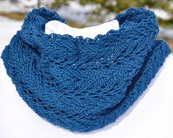 Teal Cotton Knitted Lace Cowl