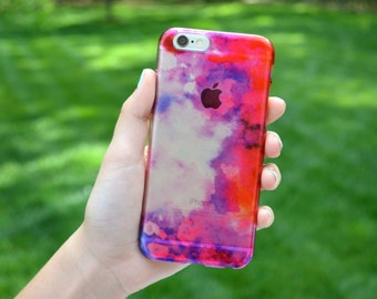 5049 // Red Pink and Purple Watercolor Paint CLEAR Phone Case iPhone 5/5S, 6/6S, 6+/6S+ Samsung Galaxy S5, S6, S6 Edge Plus, S7