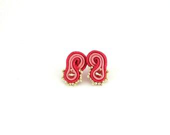 Dark pink earrings, pink stud earrings, small earrings, boho earrings, gift for her , soutache earrings, bohemian earrings, office jewelry,