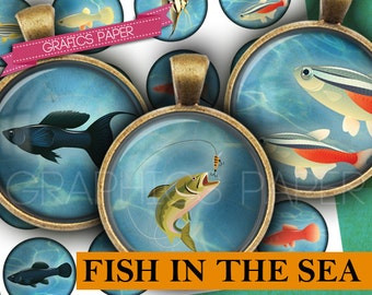 """Fish Images Fishing Digital Collage Sheet 1 inch, 1.5"""", 1.25"""", 30mm circles printable magnet stickers craft, Images pendant, cabochon- td375"""