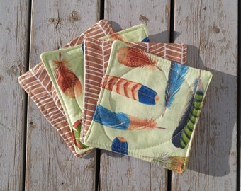 Coasters / Feather Fabric Coasters / Lime and Bronze Print Coasters / Herringbone Fabric Coasters / Set of 4