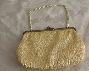 Gold Fabric Vintage Handbag