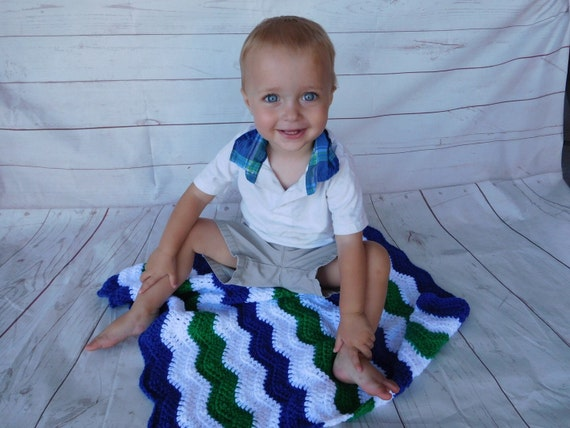 Baby Crochet Blanket Blue Green And White Baby By