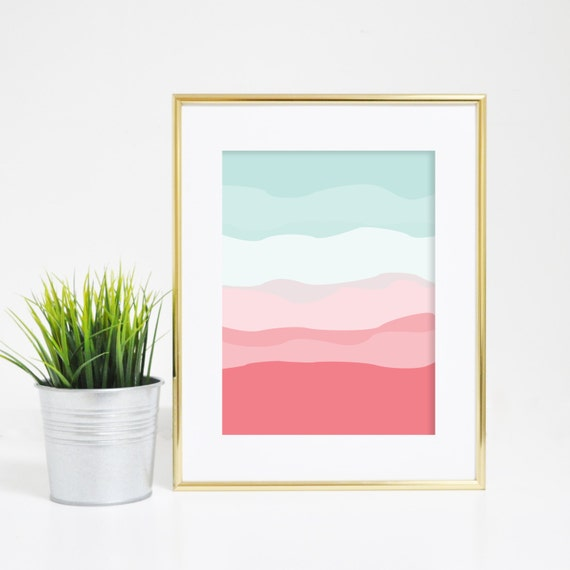 Coral and Mint, Minimalist Prints, Abstract Wall Art, Nursery Wall Prints, Downloadable Art, Printable Art, Baby Artwork, Abstract Art Print