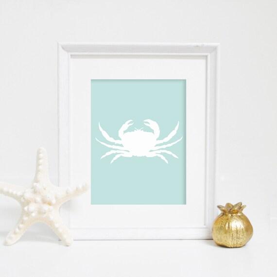 Mint Print, Crab Print, Nautical Print, Crab Wall Art, Beach House Decor, Bathroom Decor, Nautical Wall Art, Nursery Print, Printable Art