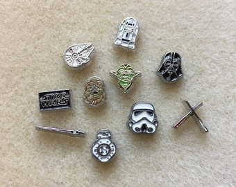 Star Wars Floating Charms for Lockets Darth Vader Stormtrooper Yoda R2-D2 Chewbacca Millennium Falcon Lightsaber BB-8