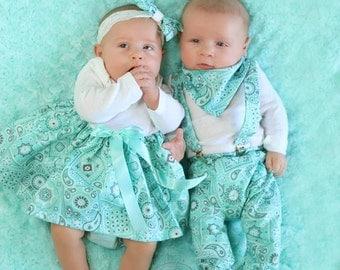 Maddie Dress Baby Photo Prop Aqua Paisley