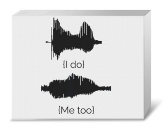 """Your Voice Wedding Vows Waveform """"I do"""" & """"Me too"""" Gallery Canvas"""