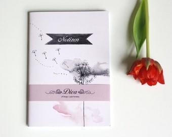 "50% OFF / SALE Notebook ""Diva"", illustrated notebook, dandelion notebook, romantic notebook, elegant papergoods"
