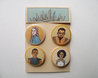 Game of Thrones pin badges / Daenerys Targaryen, Khal Drogo, Grey Worm and Missandei
