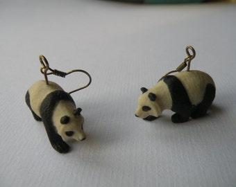 Panda earrings, lovable chinese bear bamboo eater