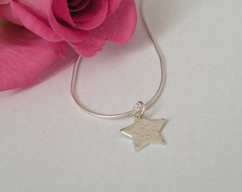 Sterling silver hammered star necklace