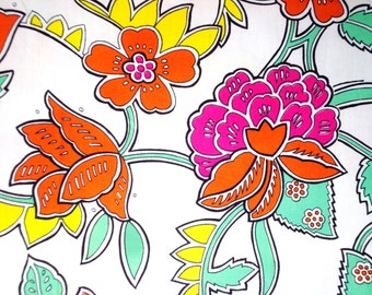 Pink Peony Orange Peony on White Ground-Cotton Printed-Vintage Hand printed-Cotton by yard-Decoration Fabric-Supply every Handcraft-3Y30cm