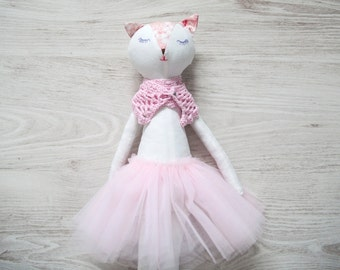 Cat Doll in Misty Rose Tutu Skirt, Large Stuffed Toy, Handmade Rag Doll, Birthday Gift for Girls, Kitty Girl Ballerina Toy