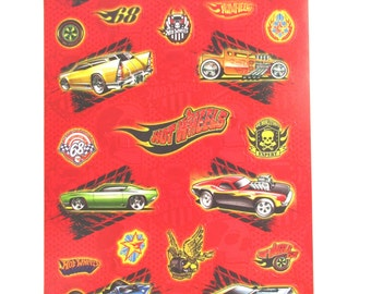 Hot Wheels Paper Stickers // Hot Wheels Birthday // Hot Wheels Party // Hot Wheels Loot Bag