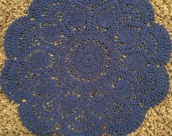 14.5 inch Dark Blue Cotton Doily