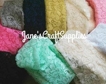 "1.5"" Grab A Bag Elastic Lace, Stretch Lace, Headband Supply, DIY Supply, Sewing Supply"
