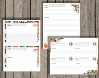 Editable recipe cards, meal planning, recipes, editable printables, recipe card printables, instant download, floral design. 3x5, 4x6, full.