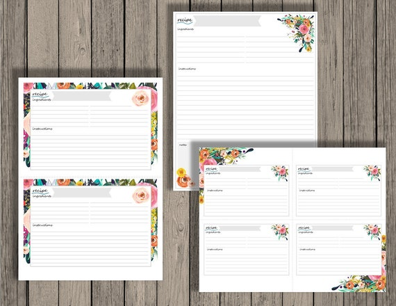 editable recipe cards meal planning recipes editable
