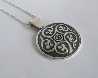 Persian Necklace Sterling Silver Abstract Pendant Persian Jewelry Made in Montana Fine Jewelry Gift Women's Persian Medallian Birthday Gift