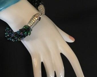 Snake Bracelet, serpent, green kumihimo, mythological, magatama, beaded bracelet, handmade, scales, serpent jewelry