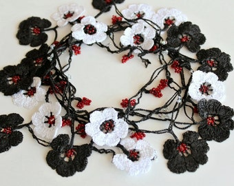 Crochet Necklace Black and White flower lariat necklace Oya Crochet Necklace