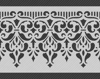 Reusable Traditional Border Stencil, Horizontal Seamless Repeat Pattern. SKU: S0118