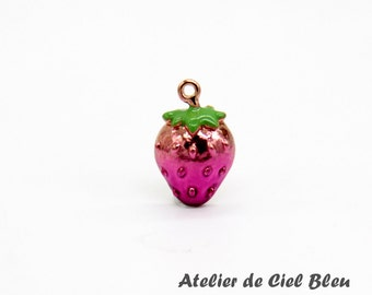 Strawberry Charm, Rose Gold Plated Enamel Strawberry Charm, Fruit Charm, Food Charm, Strawberry Jewelry, Pink Strawberry Charm