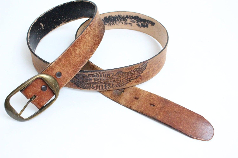 vintage harley davidson leather belt distressed leather belt