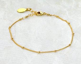 Delicate Gold Bracelet, Dainty Chain Bracelet, Thin Gold Chain, Layering Bracelet, DEW DROPS Bracelet, rose gold, christmas gifts for her