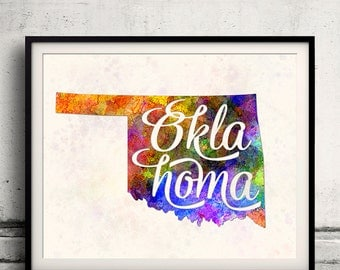 Oklahoma - Map in watercolor - Fine Art Print Glicee Poster Decor Home Gift Illustration Wall Art USA Colorful - SKU 1749