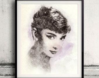 Audrey Hepburn portrait 03 in pen & watercolor - Fine Art Print Glicee Poster Gift Illustration Artist Poster - SKU 1943