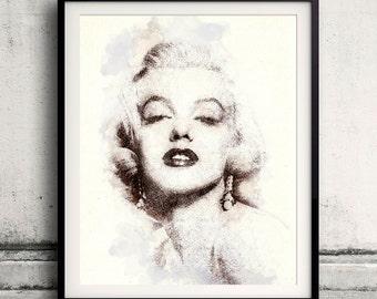 Marilyn Monroe portrait 02 in pen & watercolor - Fine Art Print Glicee Poster Gift Illustration Artist Poster - SKU 1946