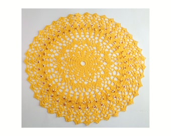 Amber Hand Crochet Round Table Topper / Doily / Light Orange Beaded Doily / Round Beaded Tablemat / 15 inch doily / harvest beaded doily