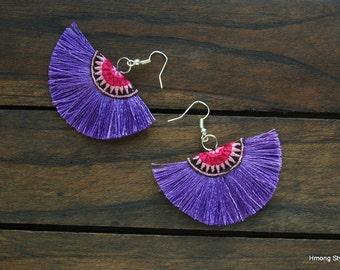 Hmong Hill Tribe Light Purple Tassel Earrings
