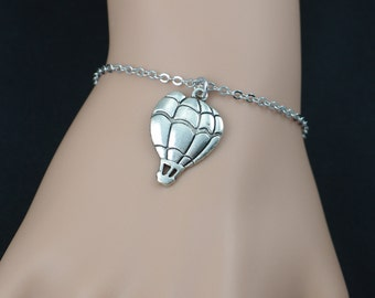 hot air balloon bracelet, silver air balloon charm, world traveler bracelet, graduation jewelry, career,positive outlook,adjustable bracelet