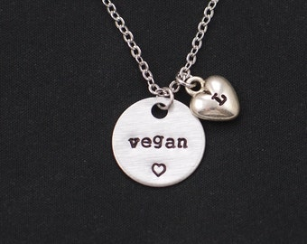 vegan necklace, personalized initial charm, vegan jewelry, veganism, vegetarian necklace, animal lover, vegan pride, Christmas,birthday